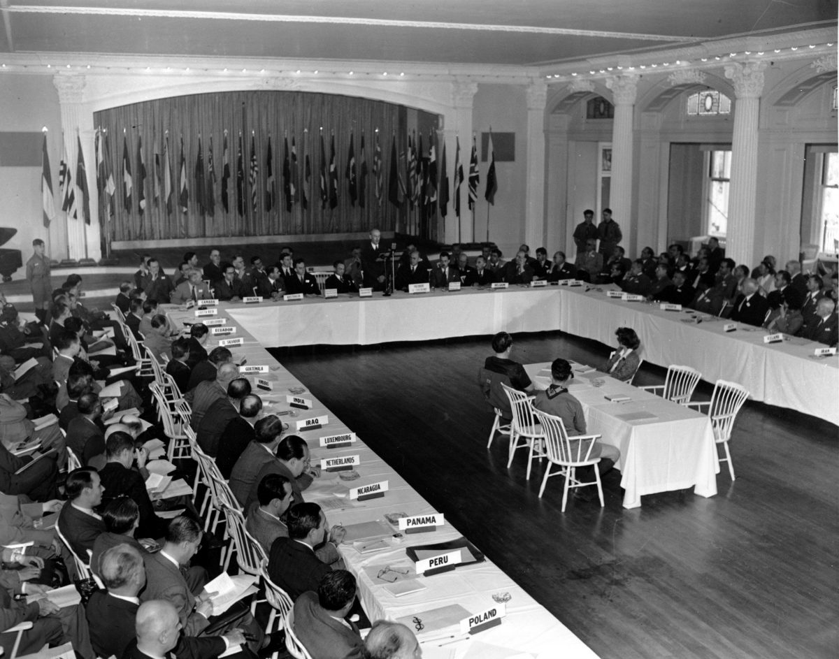 The United Nations Monetary Conference in Bretton Woods, N.H. on July 4, 1944. (AP Photo/Abe Fox)