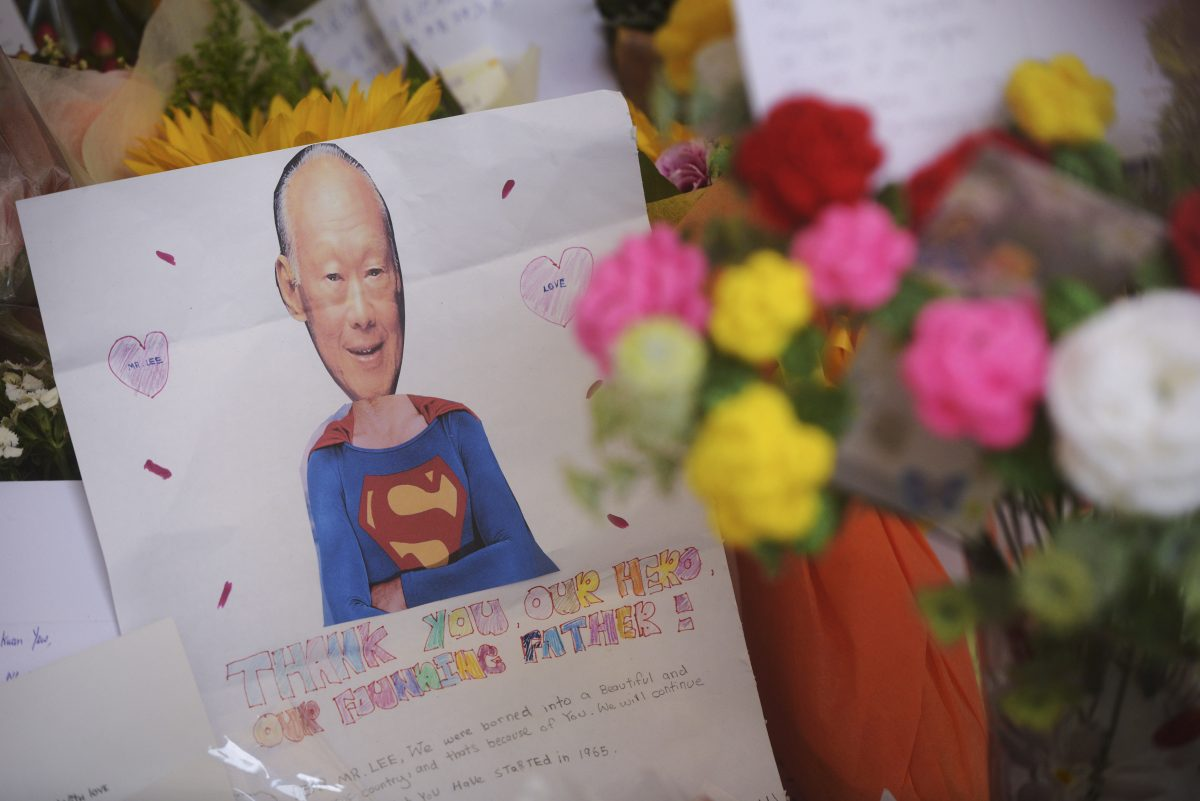 A message of support for LKY at Singapore General Hospital, March 22, 2015. (AP Photo/Joseph Nair)