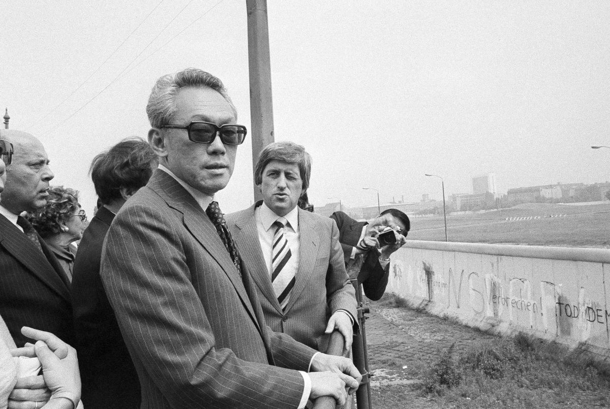 LKY looks toward East Berlin during a visit to West Berlin, June 13, 1979. (AP Photo/Elke Bruhn)
