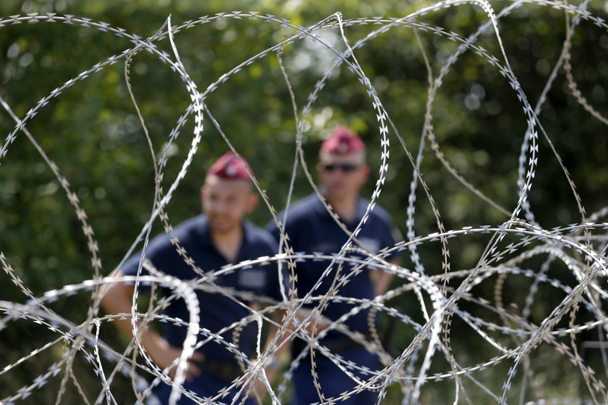 Hungarian police officers guard behind the fence on Hungary's border with Serbia, Hungary, July 16, 2015. (AP Photo/Darko Vojinovic)