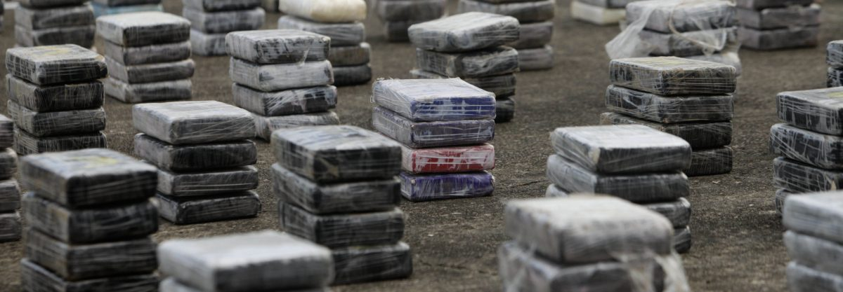Packages of cocaine are stacked in rows on a naval base lot during a news conference in Panama City, Wednesday Sept. 21, 2011. According to authorities, police seized 2.2 tons of cocaine on Panama's Atlantic coast and arrested four Colombian nationals during a Tuesday night operation. (AP Photo/Arnulfo Franco)